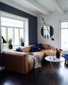so in love with this big and comfortable leather couch in the livingroom of mittlillehjerte from norway ✨💗 howwelive repost interior Navy Living Rooms, Living Room Sofa, Living Room Furniture, Furniture Stores, Dark Floor Living Room, Furniture Nyc, Furniture Movers, Furniture Online, White Furniture