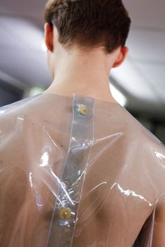 Walter Van Beirendonck AW15 Clear Plastic Button Back