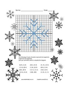 Fun Snowflake Graph Activity with Symmetry Freebie
