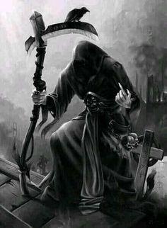 Death Reaper, Grim Reaper Art, Grim Reaper Tattoo, Don't Fear The Reaper, Reaper Drawing, Dark Artwork, Bild Tattoos, Skull Wallpaper, Angel Of Death