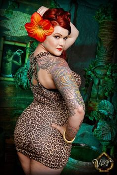 The hair, the lips, the flower, the bathing suit, the curves, the ink...I love it all. Huzzah! (Shalynn Monrose and Vargas Photography via Big Hips And Red Lips)
