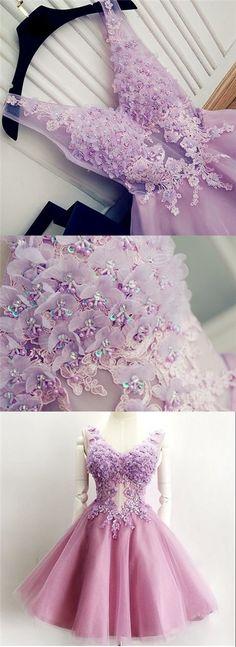 2017 Homecoming Dress V-neck Appliques Lilac Short Prom Dress Party Dress JK211