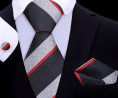 Mamba Tie Set XL TwentyDollarTie - High Quality Silk Ties and Bow Ties Silk Ties, Bow Ties, Tie Set, Red Silk, Pocket Square, Mens Xl, Houndstooth, Grey Light, Bows