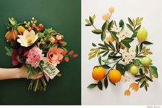 Styling | Amy Merrick - citrus for wedding decor/bouquet Oranges!!! Olive branches?  What's native to Colorado
