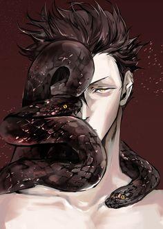 ❄ Хуманизация humanization ❄ Kuroo (I think? But Kuroo is Nekoma not hebi. Kuroo Haikyuu, Haikyuu Anime, Kuroo Tetsurou Hot, Anime Cosplay, Anime Snake, Fantasy Characters, Anime Characters, Demon Manga, Snake Art