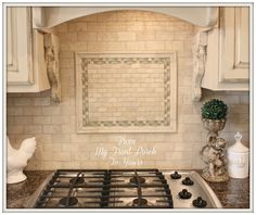 I think the subway tile works better (for your project) in a stone finish. We could add some interest with an inset over the stove  DIY Kitchen Makeover: Builder Grade to French Country Chic using Annie Sloan Chalk Paint