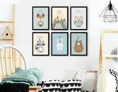 Woodland Nursery, Owl print, Nursery print set, Owl wall art, Owl nursery, Animal Set of 6, Nursery Art, Forest Friends, Mountains, Giclee. ❥ Be right on trend with this Adorable, genuine handmade giclee woodland set! The set features 5 cute forest friends, and a beautiful Mountains view,