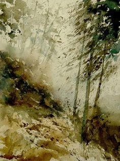 Watercolor mist in the wood landscape by pol ledent