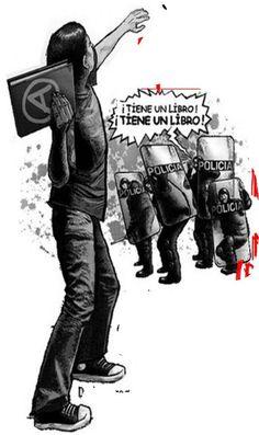 El crea: Centro de Documentación, Biblioteca Digital e intercambio libros de texto. Arte Punk, Open Source Code, Protest Art, Propaganda Art, Dark Drawings, Political Quotes, Banksy, Oppression, Anarchy