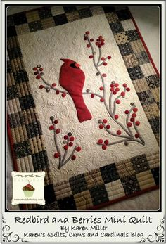 (7) Name: 'Quilting : Redbird and Berries Mini Quilt