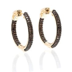 ZDE5030 STERLING SILVER 925 ROSE GOLD PLATED CHOCOLATE CZ HOOP EARRINGS