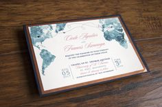 World map, custom wedding invitation, copper, teal, coral, navy blue, watercolor - Alex Tebow Designs