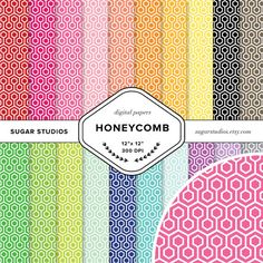 Honeycomb 20 Piece Digital Scrapbook Paper Mega by sugarstudios $3.99