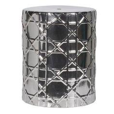 Silver Ceramic Stool / Drum Table