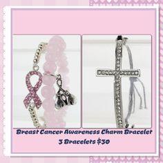 Breast Cancer Awareness Charm Bracelet.  3pcs - Adjustable Crystal Cross, Pink Bead Bracelet with Charm Boxing Gloves, Breast Cancer Awareness Ribbon Charm  Bracelet.  $30