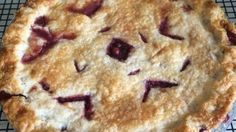 A not-too-sweet and fruity pie. Saskatoon berries are known as serviceberries in the United States. This berry has often been compared with blueberries though it has more of an apple flavor.
