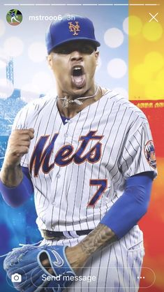 """Stroman, recently traded from Toronto, will wear Jose """"La Melaza"""" Reyes's number 7 with the New York Mets Mlb Mets, Mets Baseball, Baseball Players, Baseball Cards, New York Teams, How Soon Is Now, Lets Go Mets, Shea Stadium, The Outfield"""