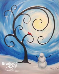 Snow man painting in the snow with whimsical curling swirling tree and swirls around the sun.