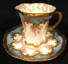 Antique Blue, White & Gold with Pink Flowers - Donath Co Dresden Cabinet Demitasse Cup & Saucer Gold & Floral, c. 1872-1916