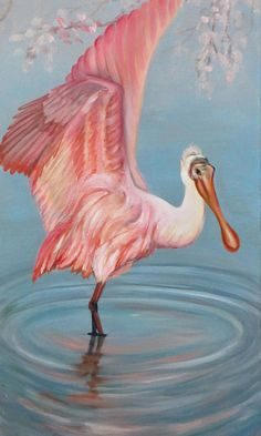 Mouse over image to zoom    Have one to sell? Sell it yourself  Roseate Spoonbill Oil Painting, Pink Water Birds Lakes Forest, Orig Signed Art