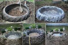 Turn a tractor tire into a pond Backyard Projects, Outdoor Projects, Garden Projects, Backyard Ideas, Tractor Tire Pond, Small Gardens, Outdoor Gardens, Minecraft Beach House, Bog Plants