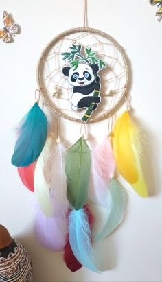 Panda Dream Catcher Nursery Wall Hanging Dreamcatcher, Kids Room Decor Woodland Panda Nursery Decor Made with attention and love this dream catcher brings its owners good dreams and positive energy.  MATERIALS: metal ring, natural jute cord, tan string, gold tone beads, ivory wooden beads, Dream Catcher Decor, Dream Catcher Nursery, Panda Nursery, Tropical Wall Decor, Panda's Dream, Nursery Decor, Room Decor, Panda Gifts, Metal Ring