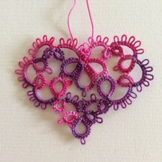Small Tatted Heart by Betsy Evans, tatted in size 20 Plum Tickled hand-dyed thread by Lady Shuttle Maker.