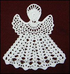 Tricô e Crochê - Knitting and Crochet: Enfeite de Natal em Crochet - Anjo Natalino Crochet Motifs, Crochet Blocks, Crochet Dishcloths, Crochet Doilies, Crochet Stitches, Free Crochet, Knit Crochet, Crochet Patterns, Crochet Angels