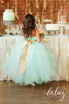 MINT Green Tutu Dress with Gold Sash (Etsy).  *** Follow us for more wonderful wedding ideas and inspiration! ***