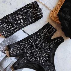 10% off hot sale embellished bikinis bathing suit highwaist vintage swimwear push up swimsuit tummy control bikini strapless