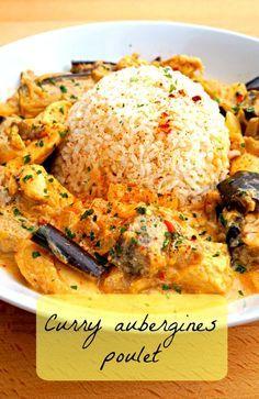 Un délicieux curry poulet aubergine qui vous fera voyager , recette saine et rapide :)
