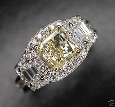 FANCY YELLOW DIAMOND RING 2.58ct Real-Genuine-Natural-Diamonds
