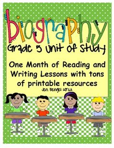 Just posted!  This is a month-long biography unit with 40 detailed mini lessons for the reading and writing workshops!  Each lesson is linked to a specific grade 5 Common Core State Standard!  It also includes examples of class charts for each lesson, a list of 18 different biography read-aloud titles, observation forms, printable mini lesson statements, an explanation of both workshops, and so much more.  96 pages in all!!
