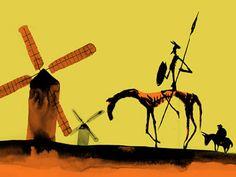 Don Quijote de la Mancha, los molinos y Sancho panza en el fondo.