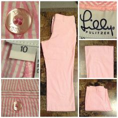 """Lilly Pulitzer Capri Pants Lilly Pulitzer Striped Capri Pants are Comfortable and Stylish.  These Pants are made of 97% Cotton and 3% Spandex.  The Size is 10. The Colors are Pink and White.  Laying flat """"15. Rise """"10. Length """"32.5. Inseam """"22.5. This item is in Good condition, Authentic and from a Smoke And Pet free home. All Offers through the offer button ONLY. I Will not negotiate Price in the comment section. Thank You Lilly Pulitzer Pants Ankle & Cropped"""