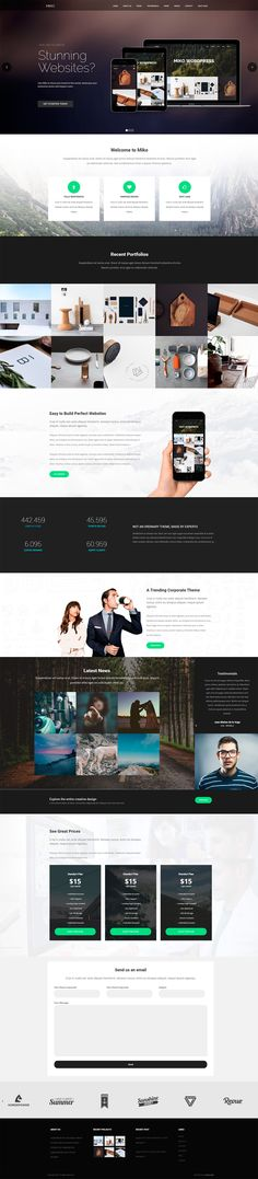 'Miko' is a clean WordPress theme with a long scrolling One Page layout option. The One Page option includes the Slider Revolution plugin (worth $19) to help create those slick intro transitions, an AJAX loading portfolio section, parallax scrolling effects, unique vertical testimonial slider, pricing table and big contact form.