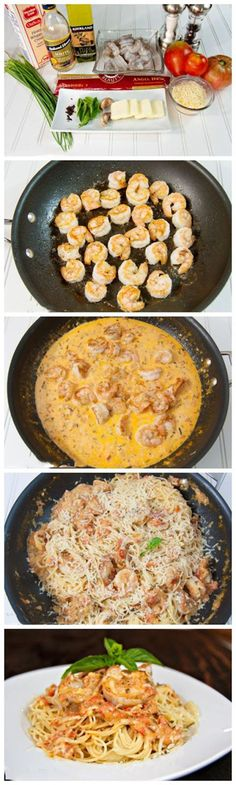 Easy Spaghetti with Shrimp in a Creamy Tomato Sauce. This Pasta Recipe Was Seriously SO Easy. It Came Out Perfect And Only Took 20 Minutes!