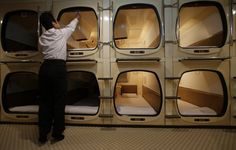 This is advertised as a hotel in Japan, and there are many of them, but those who need to be in the city and can't afford housing end up in these. Capsule hotel