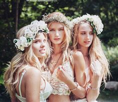 flower crowns, lace dresses, barefeet in the country and its a wedding.   walking on sunshine