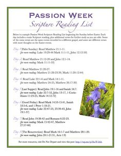 Easter Passion Week Scripture Reading List