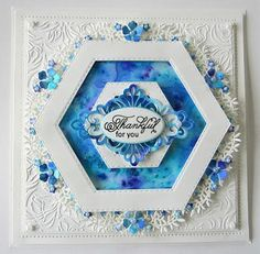 PartiCraft (Participate In Craft): Floral Framed Hexagon Card Hexagon Cards, Mermaid Crafts, Spellbinders Cards, Handmade Birthday Cards, Handmade Cards, Making Ideas, Cardmaking, Sue Wilson, Christmas Cards