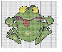 ♥ Cross-stitch Silly Frog  ... no color chart available, just use the pattern chart as your color guide.. or choose your own colors...