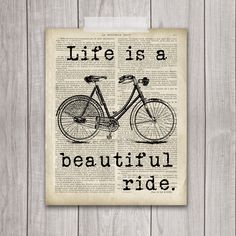 75% OFF SALE - Life is a Beautiful Ride - 8x10 Bicycle Print, Bike Print, Bike Vintage, Vintage Print, Bike Decor, Printable Art, Bicycle by DreamBigPrintables on Etsy https://www.etsy.com/listing/200318914/75-off-sale-life-is-a-beautiful-ride
