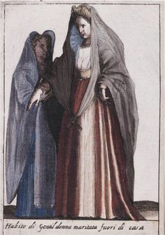 Giacomo Franco, 1609: Dress of Married Gentlewoman outside her home [from Habiti d'huomeni et donne venetiane]  Beinecke Rare Book and Manuscript Library, Yale University