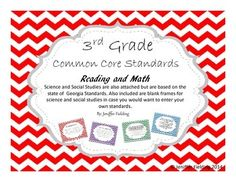 This listing is for a set of Third Grade Common Core Chevron Themed Standards. There are 148 Pages. Each Standard is on a page. Math and English are the Common Core. Social Studies and Science is from the Georgia Standards but also co equipped with a blank slide so that you may create your own to go with your state or add additional information to your standards.
