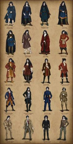 Leland- A Gentleman's Progress. Men's costume through the ages, as worn by a vampire. Art & character design by temiel on DeviantArt. NOTE: not all time periods covered. You are in the right place abo Historical Costume, Historical Clothing, European Clothing, Kleidung Design, Vintage Outfits, Vintage Fashion, Medieval Clothing, Men's Clothing, Male Clothing Styles
