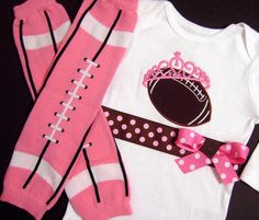 Football Princess Bodysuit and Legwarmers, Newborn, Girl, Sports, Pink My Little Girl, My Baby Girl, Little Princess, Baby Girl Fashion, Kids Fashion, Everything Baby, Baby Time, Cute Baby Clothes, Future Baby