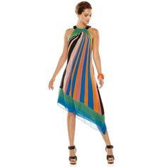 Adrianna Papell Dress, Sleeveless Printed Asymmetrical Hem Halter ($70) ❤ liked on Polyvore