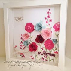 stampin up cadre design at DuckDuckGo Diy Shadow Box, Shadow Box Frames, Flower Shadow Box, Flower Frame, Flower Art, Felt Flowers, Paper Flowers, Small Flowers, Cadre Design