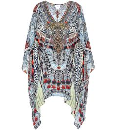 Camilla - Ebellished printed silk kaftan - Camilla's silk kaftan has been printed with an intricate, dimensional design influenced by Far East styles. Lightweight and fluid, this top comes embellished with numerous glass crystals for a sparkling finish. seen @ www.mytheresa.com